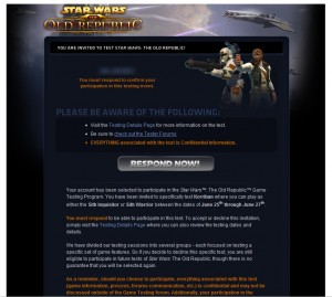 SWTOR Closed Beta Invite
