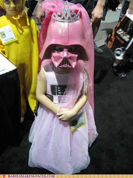 image of a girl in pink Darth Dader costume