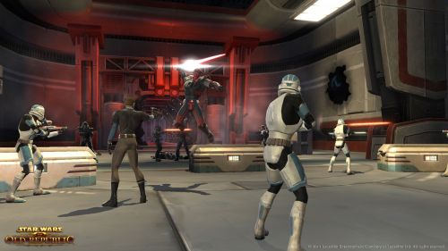 Sith Warrior Launches Himself At A Group Of Ill Prepared Republic Defenders